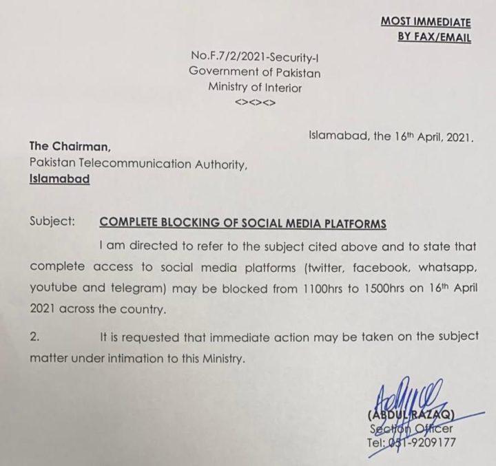 Paquistão: Bloqueio total das redes sociais devido a manifestações