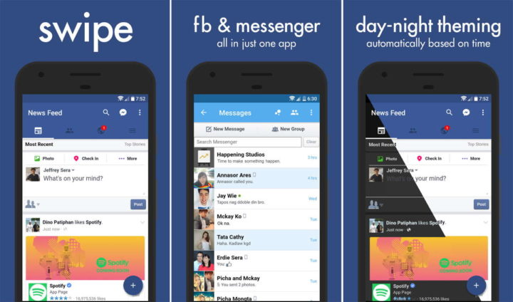 Facebook apps Play Store Swipe programadores