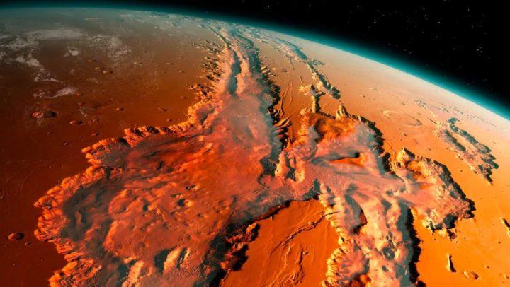 Imagem do planeta Marte onde ocorrem muitos terramotos