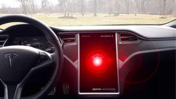 Imagem sistema de segurança da Tesla ativo
