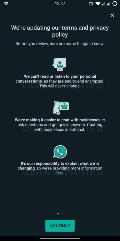 WhatsApp política privacidade aviso utilizadores