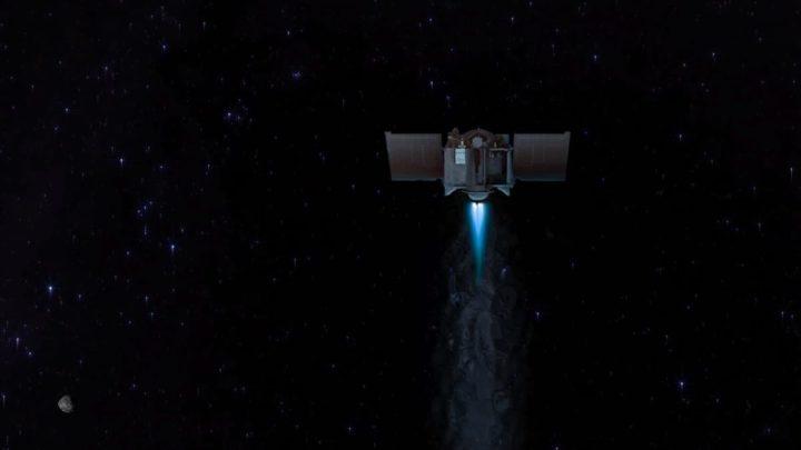 Ilustração da nave OSIRIS-REx a sair do asteroide Bennu.