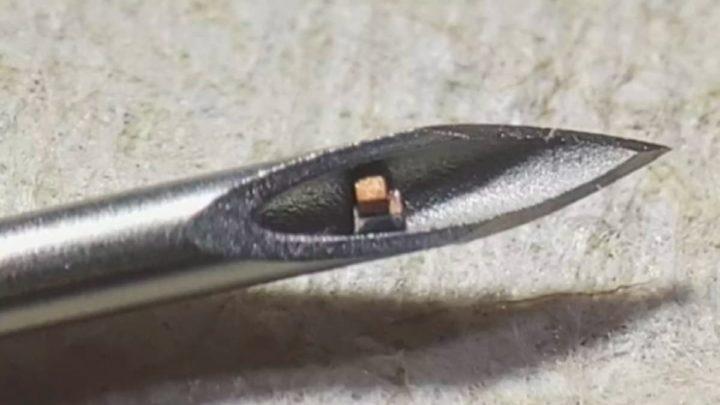 Imagem chip microscópico dentro de uma agulha