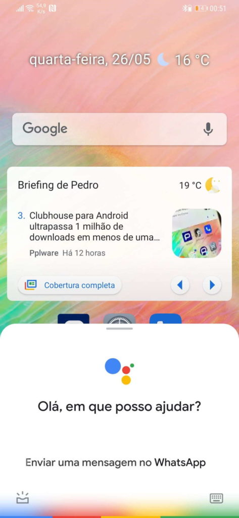 WhatsApp Assistente Google mensagem Android