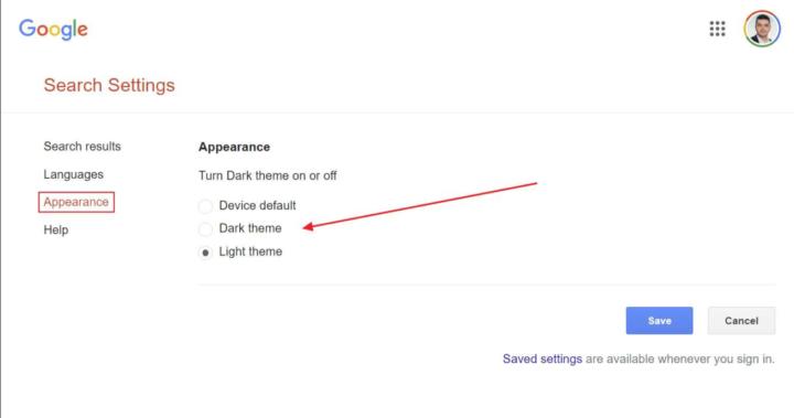 Google dark mode pesquisa página desktop