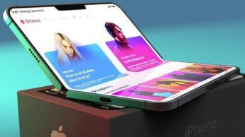 Ilustração do iPhone dobrável da Apple