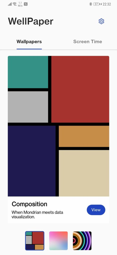 Android wallpaper WellPaper utilização informação