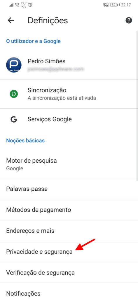Chrome Android Google browser páginas