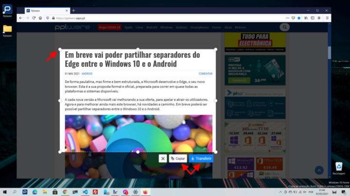 Firefox Mozilla captura ecrã imagem