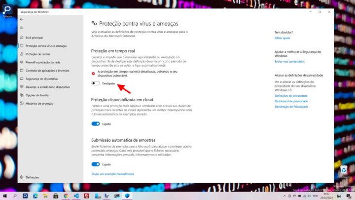 Windows 10 Defender segurança app ficheiro