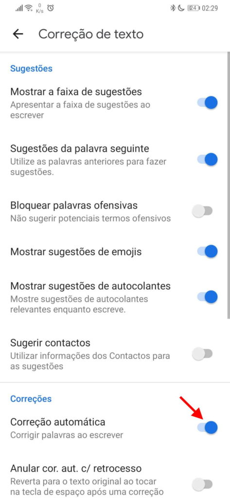 Android corrigir texto teclado erros