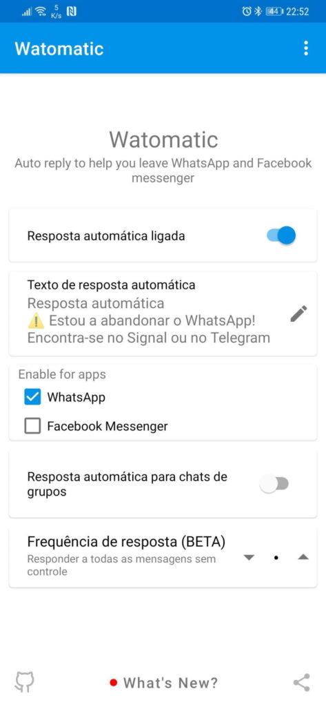 WhatsApp Facebook mensagens Watomatic respostas