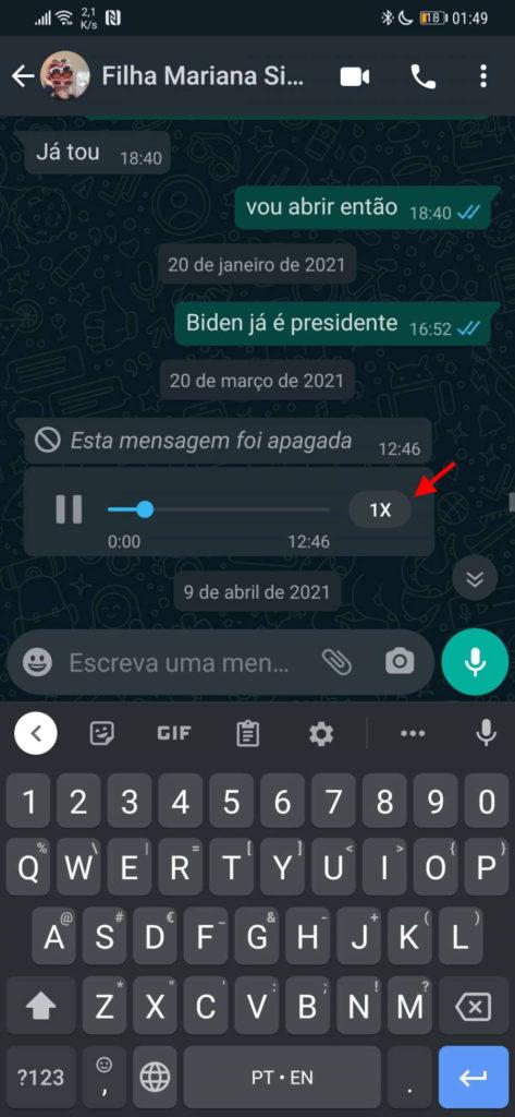 WhatsApp áudio mensagens acelerar