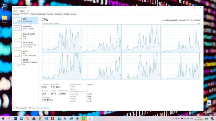 CPU Gestor Tarefas Windows 10 núcleos