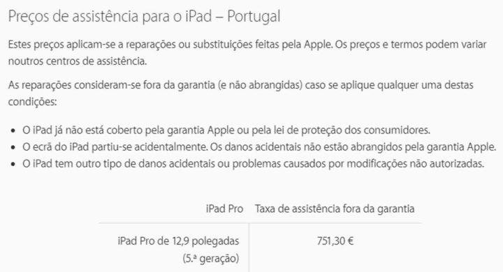 iPad Pro preço Apple ecrã reparação