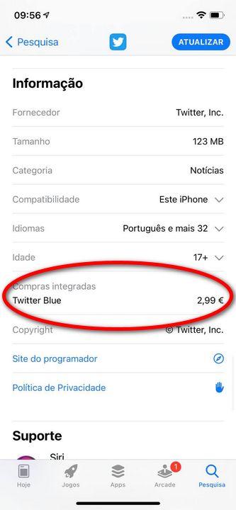 Twitter Blue: Atualização da app do Twitter para iOS revela compra dentro da app de 2,99 €