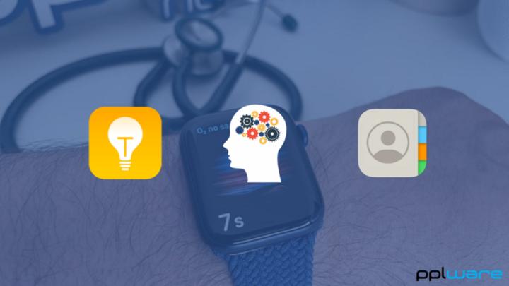 Imagem App 'Mind', 'Dicas' e 'Contactos' no watchOS 8