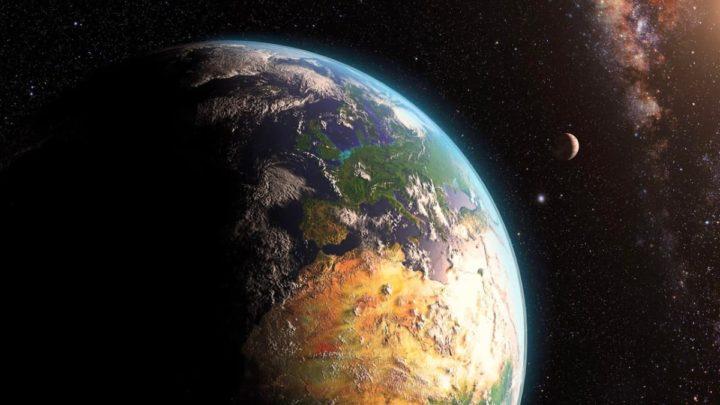 Ilustração da Terra com a sua atividade geológica