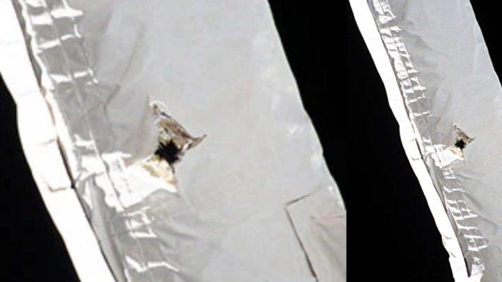 Imagem do buraco causado por detritos no braço da Estação Espacial Internacional