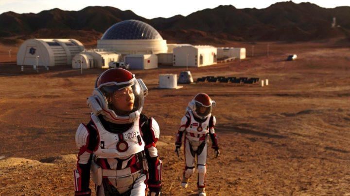 Ilustração de base da China em Marte