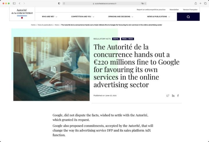 Site regulador francês que multa a Google por posição dominante na publicidade