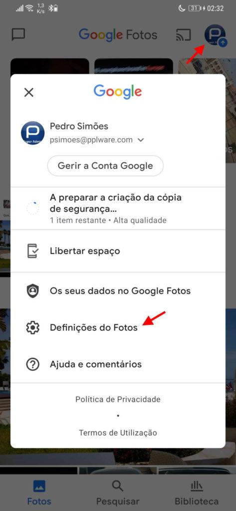 Google Fotos espaço fotografias
