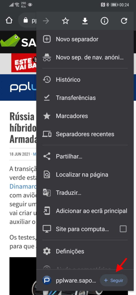 browser Chrome Android RSS testar