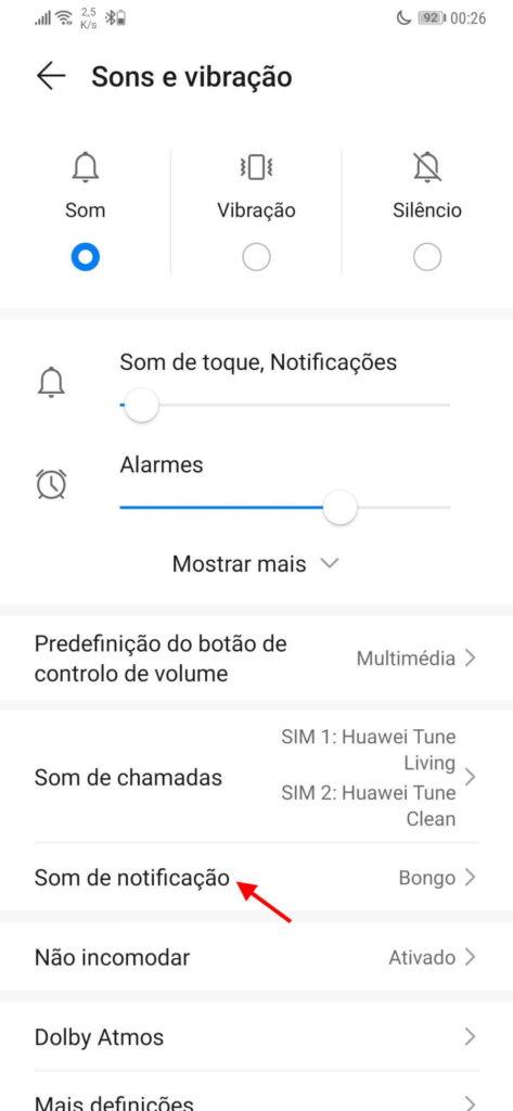 notificações som vibração Android smartphone