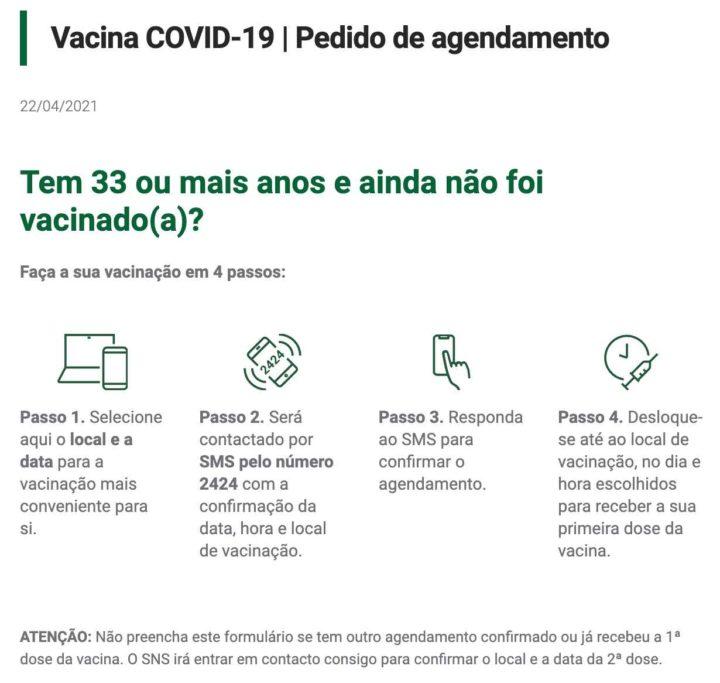 COVID-19: Tem mais de 33 anos? Agende já a sua vacina