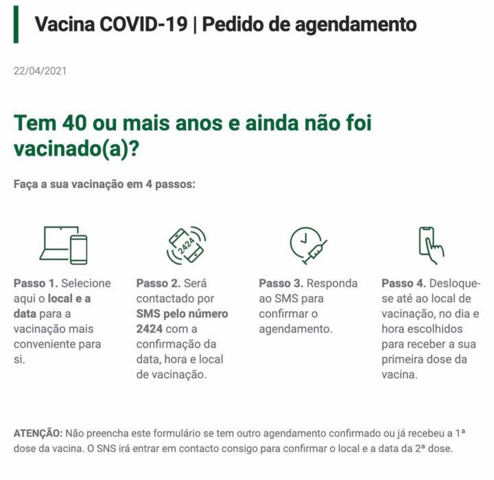 COVID-19: Tem mais de 40 anos? Agende já a sua vacina