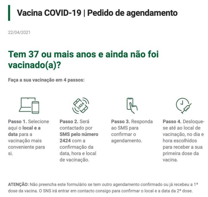COVID-19: Tem mais de 37 anos? Agende já a sua vacina