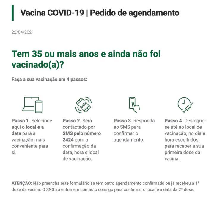 COVID-19: Tem mais de 35 anos? Agende já a sua vacina