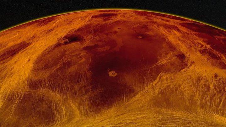 Ilustração da crosta ou manto do planeta Vénus