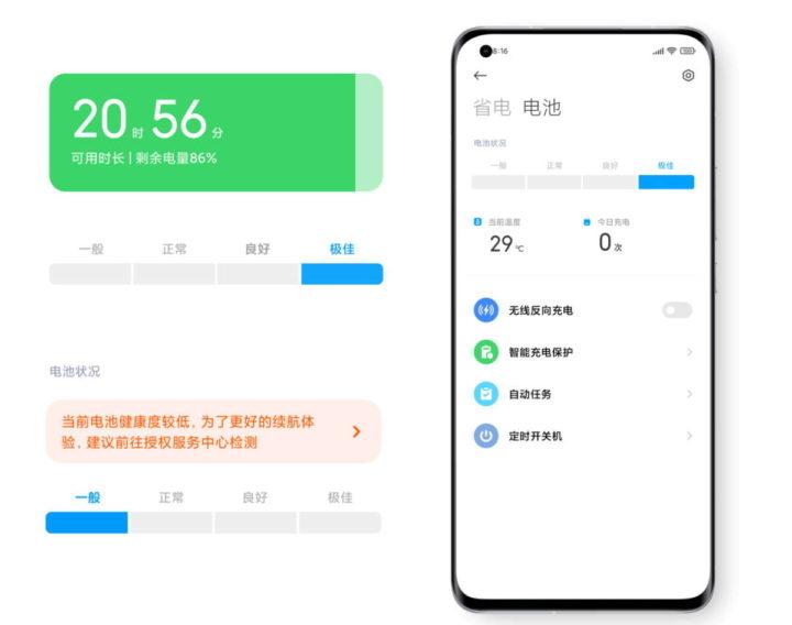 Xiaomi MIUI 12.5 smartphones bateria informação