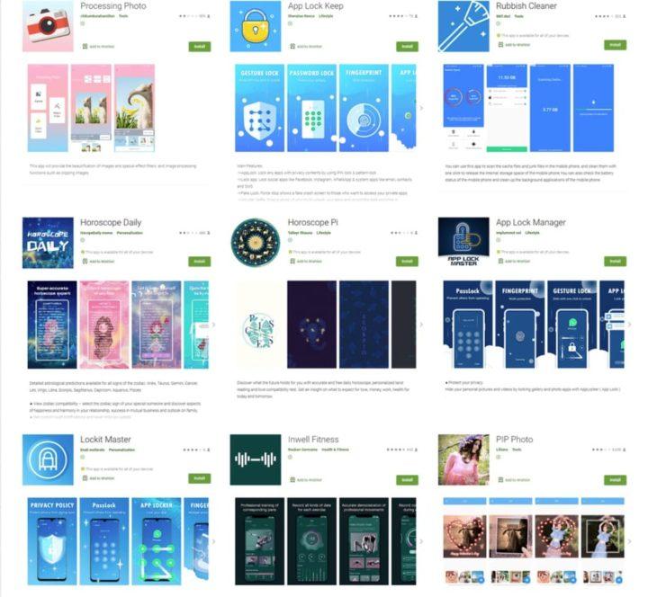 Imagem das apps Android com malware que roubava login Facebook