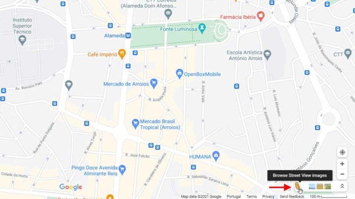 Google Maps viajar tempo mapa