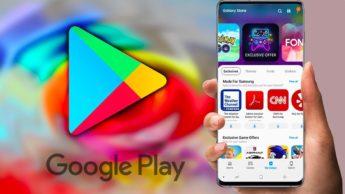 Ilustração Google Play Store e Galaxy Store