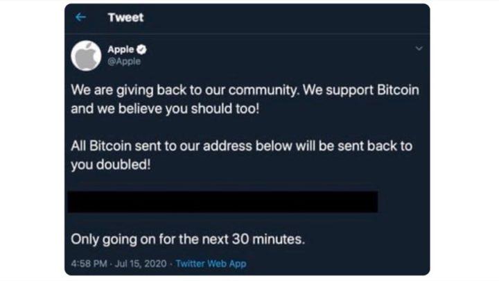 Imagen de un tweet de un pirata informático en una cuenta de Apple que promociona Bitcoin