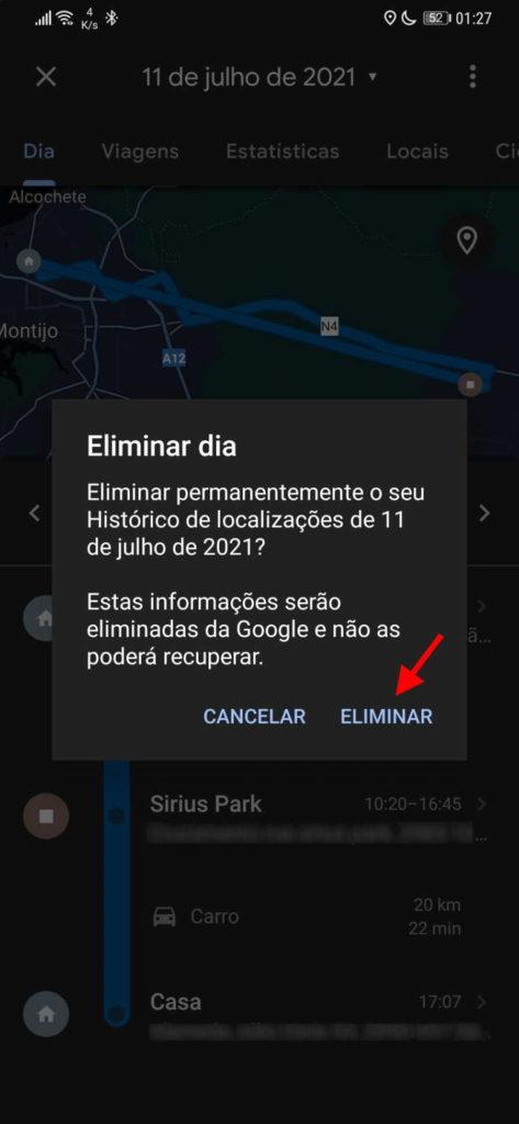 Google Maps apagar dia cronológica