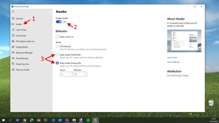 Powertoys PC acordado Microsoft Awake