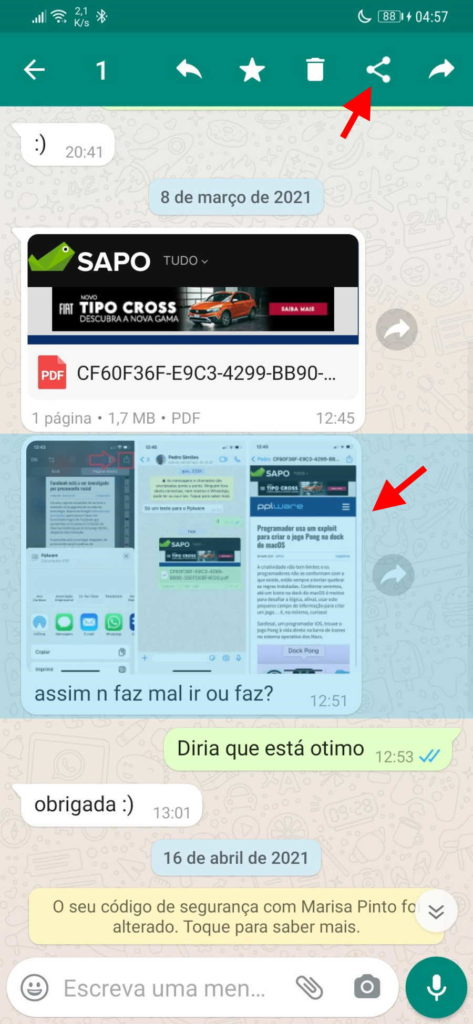 WhatsApp imagem reenviado marca mensagem