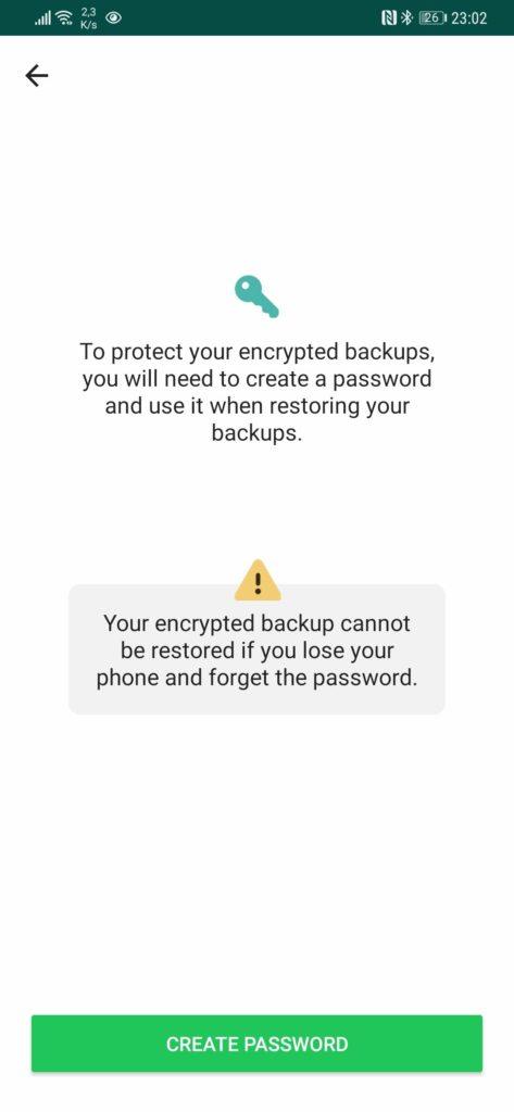 WhatsApp cópias segurança cifra palavra passe