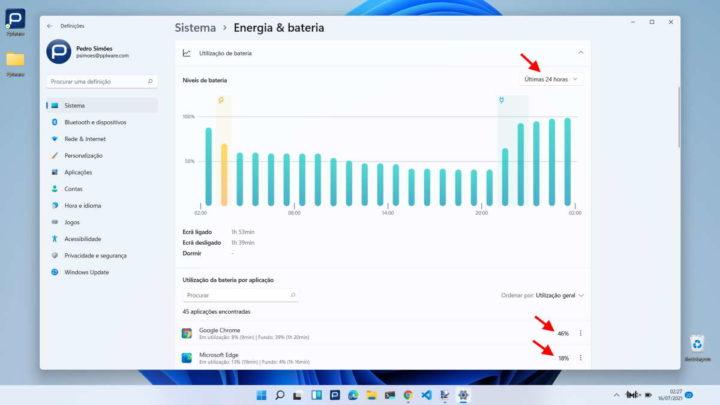 Windows 11 bateria Microsoft informação dados