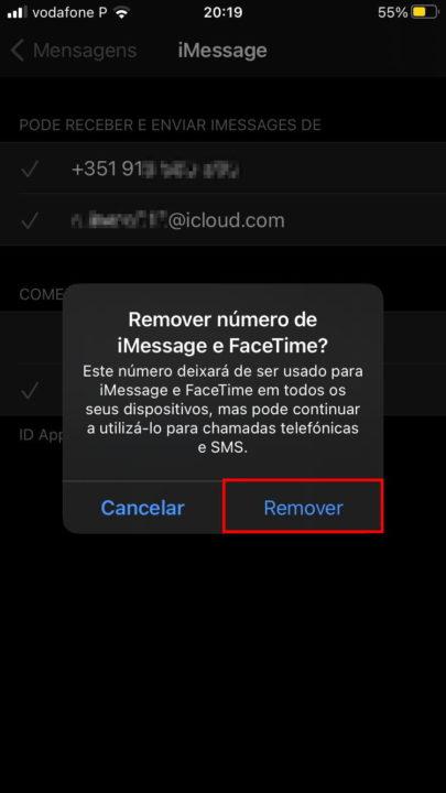 Remover número de iMessage e Facetime