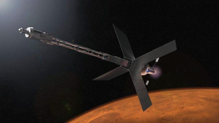 Ilustração da nave russa Zeus com reator nuclear em Marte