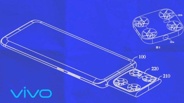 Ilustração da patente da fabricante chinesa Vivo que tem um drone dentro do smartphone
