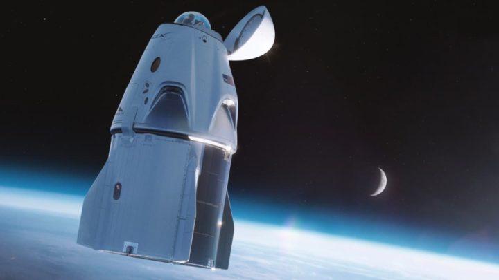 Ilustração da nave espacial Crew Dragon da SpaceX com WC na cúpula de vidro