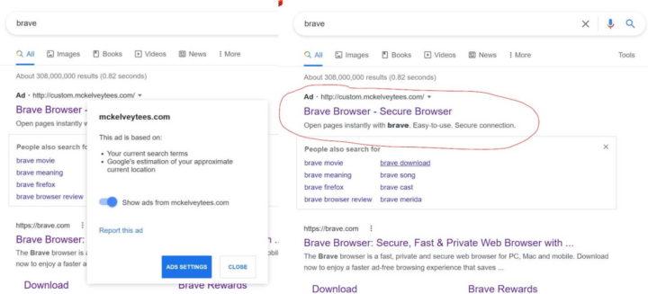Brave malware browser publicidade Google