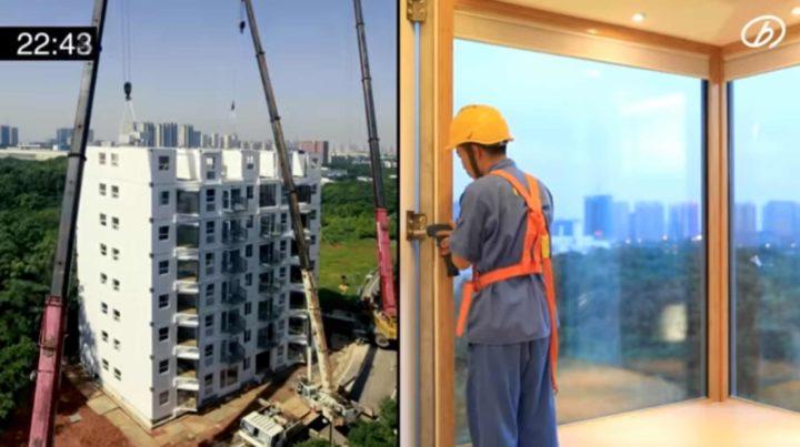 ¡Espectacular!  Los chinos construyen un edificio de 10 pisos en solo 29 horas
