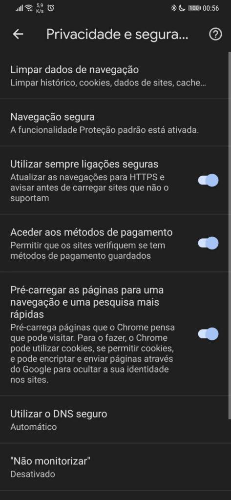 Chrome browser Google segurança anónimos
